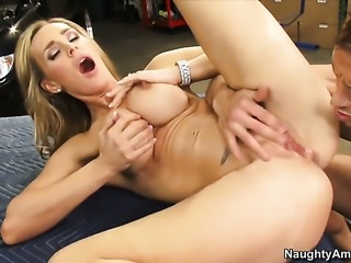 Tanya Tate with juicy jugs and bald pussy gets the fuck of her dreams with...