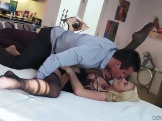 Gorgeous blonde MILF Summer Brielle in black stockings shows her pink pussy...
