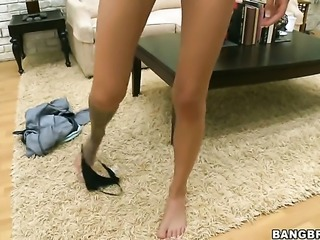 Blonde Emma Mae shows off her body parts while giving stroke job to a lucky dude