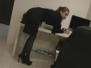 Hot blonde secretary in pantyhose