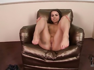 With small boobs and bald beaver gives a closeup of her pussy while...