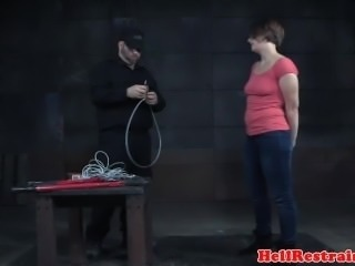 Restrained sub clit stimulated and flogged