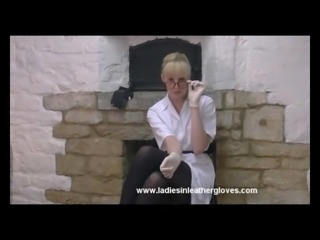 Blonde secretary nurse teases with her tits legs and gloves