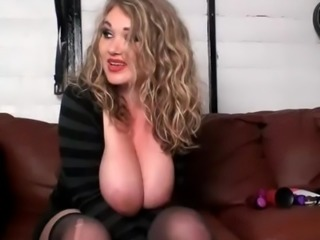 Beautiful blonde dumped large breasts and talks