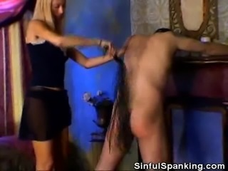 Dominatrix Spanks His Man