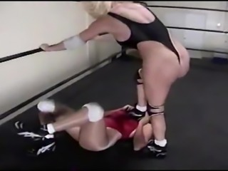 Thong Back High Leg Leotards and Female Wrestling Domination