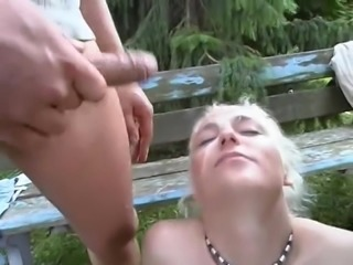 Two Older Men Have A Threesome With A Blonde German