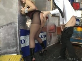 Sexy slut in stockings Angel Wicky is fucked by clothed dude Markus Dupree