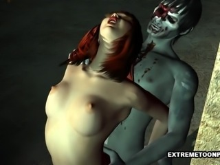 Foxy 3D Redhead Having Rough Sex with a Zombie