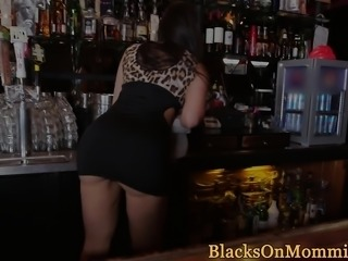 Milf bartender interracial plowed in her bar