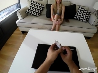 Slim blonde gives a great blowjob and then gets fucked hard POV style