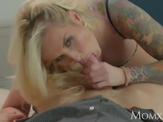 MOM Busty tattooed blonde gets hard fuck