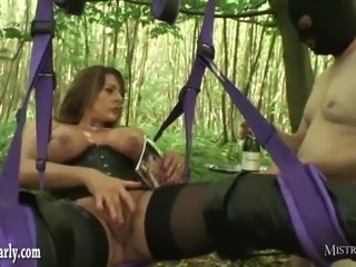 Horny mistress orders cuckold slave watch her fuck big cock