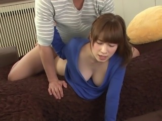 Japanese downblouse tease babe fucked in her hairy bush