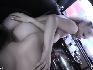 Fit and fine lesbian bitches get freaky in the backseat of a limo