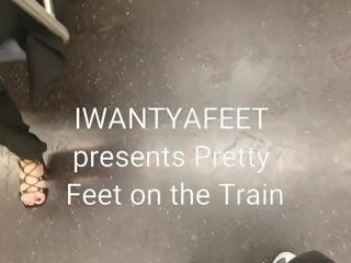Pretty feet on the train