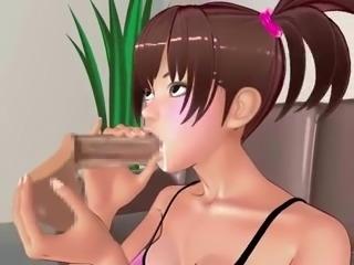 anime cutie sucks hard shaft and cradles the balls