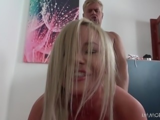 Porno Dan tried to shove his dick as deep as possible in this blonde's pussy...