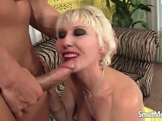 Luscious mature lady seduces a young stud to stretch her tight pussy
