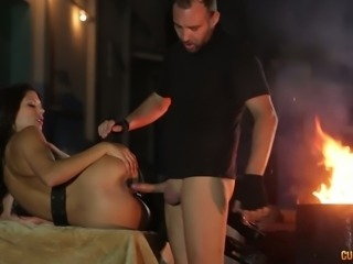 Kinky homeless man fucks yummy black haired bitch Alexa Tomas with pleasure