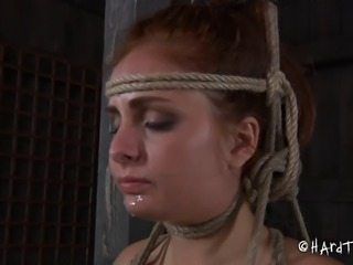 Tied slave juicy pussy throbbed with massive toy in BDSM