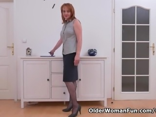 Euro milf Elisabeth strips off slowly and masturbates