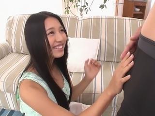 Blissful Japanese teen deepthroats a fat cock then swallows cum