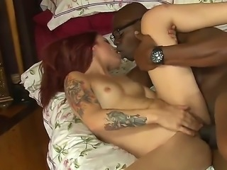 Cheating red head wife Alyssa enjoys her cute muff drilled by a huge hard...