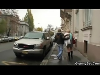 Old granny prostitute takes it from behind