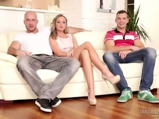 Lovely long legged blondie on the couch is excited to have sex with bisexual...
