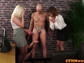 Office cfnm femdom toying dudes ass