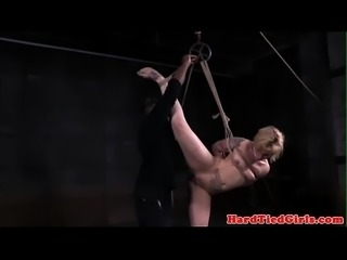 BDSM sub tied by black maledom while gagged