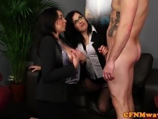 Busty cfnm femdom cumsprayed on boobs