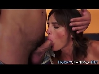 Pounded granny sucks cock