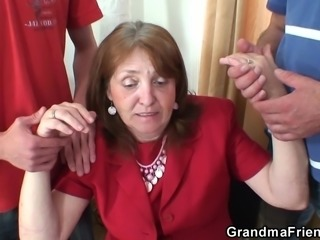 Fucking busty granma from both sides