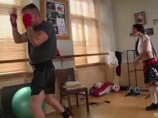 Long-haired slut Sandra Luberc getting fucked hard at a gym