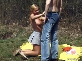 Blonde teen with nice boobs gets ass fucked by Bf in the forest