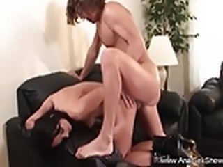 Brunette MILF Anal On The Couch