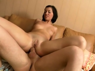 Petite brunette with tiny tits is addicted to rough anal sex