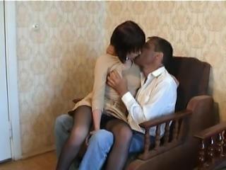 Brunette teen in nylon pantyhose fucks with an older guy