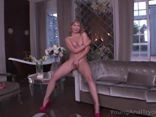 Curvy blondie teases her boyfriend with her round bottom and big boobs....