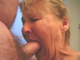 Granny sucking dick.