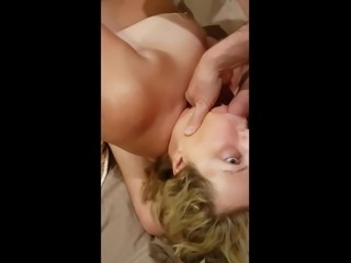 Jacking off in the Cum Whore's Mouth