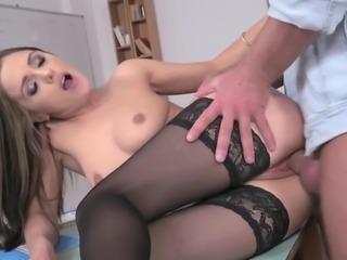 Teacher in stockings fucked hard anal