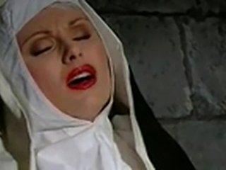 Nuns use footjob & dildo to masturbate in nunnery