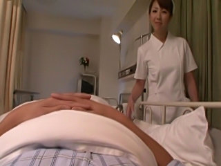 Lactating Japanese nurse milks her tits all over some dudes pixelated cock...