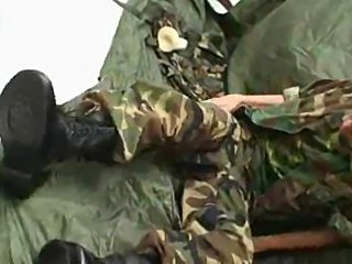 Soldier command Asian twink on masturbation