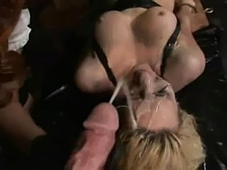 Cum covered at gangbang  free