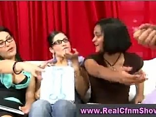 Cfnm babe in glasses gives handjob to guy