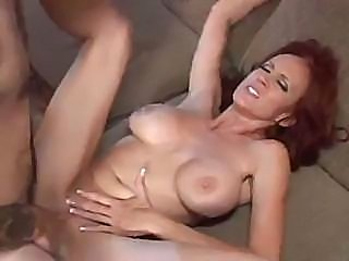 Busty redhead mature woman sucks and gets fucked by large cock